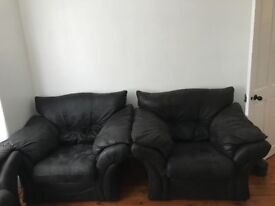 Settee/Sofa and Three Chairs in Black