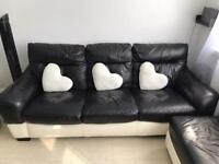 3 seater Sofa + swivel sofa black and white leather material
