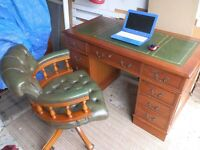 Reproduction Antique Style Leather Top Desk, matching Chesterfield Chair a truly fantastic set..