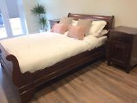 Sleigh bed solid wood