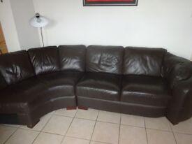 Sofa large corner style brown leather seats 6 VGC