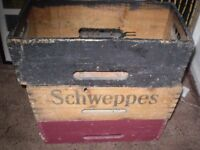 3 RECORD BOXES FOR SINGLES SCHWEPPES WOODEN