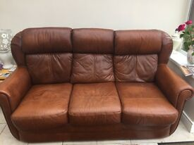 Antique brown leather 3+1+1
