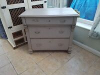 French shabby chic chest of drawers. Real solid piece of furniture