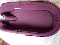 STOKKE xplory carrycot (purple) with apron and raincover - excellent condition