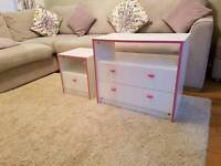 Kids chest of drawers and side cabinet