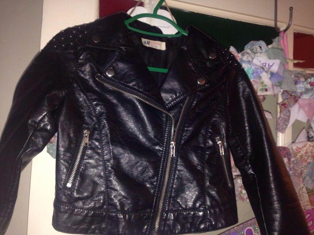 H & M girls biker jacket 9-10 years
