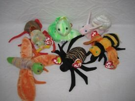 Ty Beanie Baby Snail, Spider, Beetle, Bee, Firefly & Worm