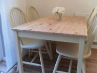 ** PINE DINING TABLE WITH 4 CHAIRS - BEAUTIFULLY RESTORED IN SHABBY CHIC STYLE **