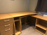 Large corner desk with 3 drawer unit
