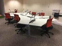 Techno white 120 degree desks