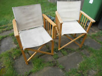 Director's Chairs - Canvas and Beech - Folding - Camping, Fishing, Garden - £20 the pair