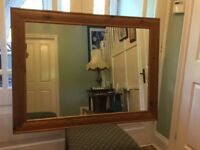 Large Pine Mirror - can be hung either way Measurements 35in/89cm x 46.5in/118cm