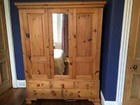 Lovely Double Pine Wardrobe With Drawers