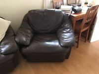 Free 2 seater Sofa and chair brown leather look free to collector fair condition