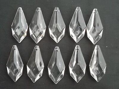 10 pretty large glass spear chandelier drops (D8686)