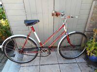 vintage ladies red BSA 22 inch frame bike with lock