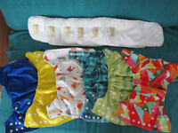 6 reuseable nappies (pocket nappy style) with microfibre inserts