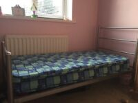 Childs metal bed frame and mattress for sale £40 hardly used and in excellent condition
