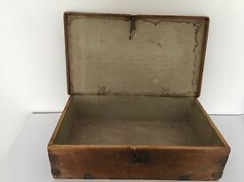 AntiqueSolid Wood Storage Box with metal detail at sides