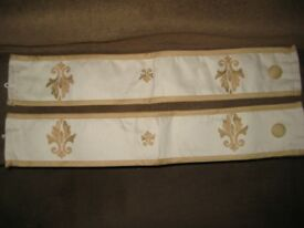 Pair of Light Beige Patterned Curtina Curtain Draws