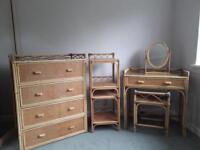 Vintage Wicker/Bamboo Bedroom Furniture - Dressing Table + Stool - Bedside Tables - Chest of Drawers