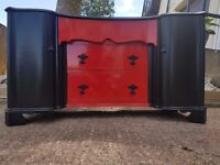 Vintage Black and Red Chest of Drawers / Dresser - DELIVERY AVAILABLE