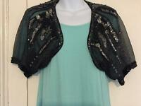 Black & Silver sequinned shrug - size 12-14