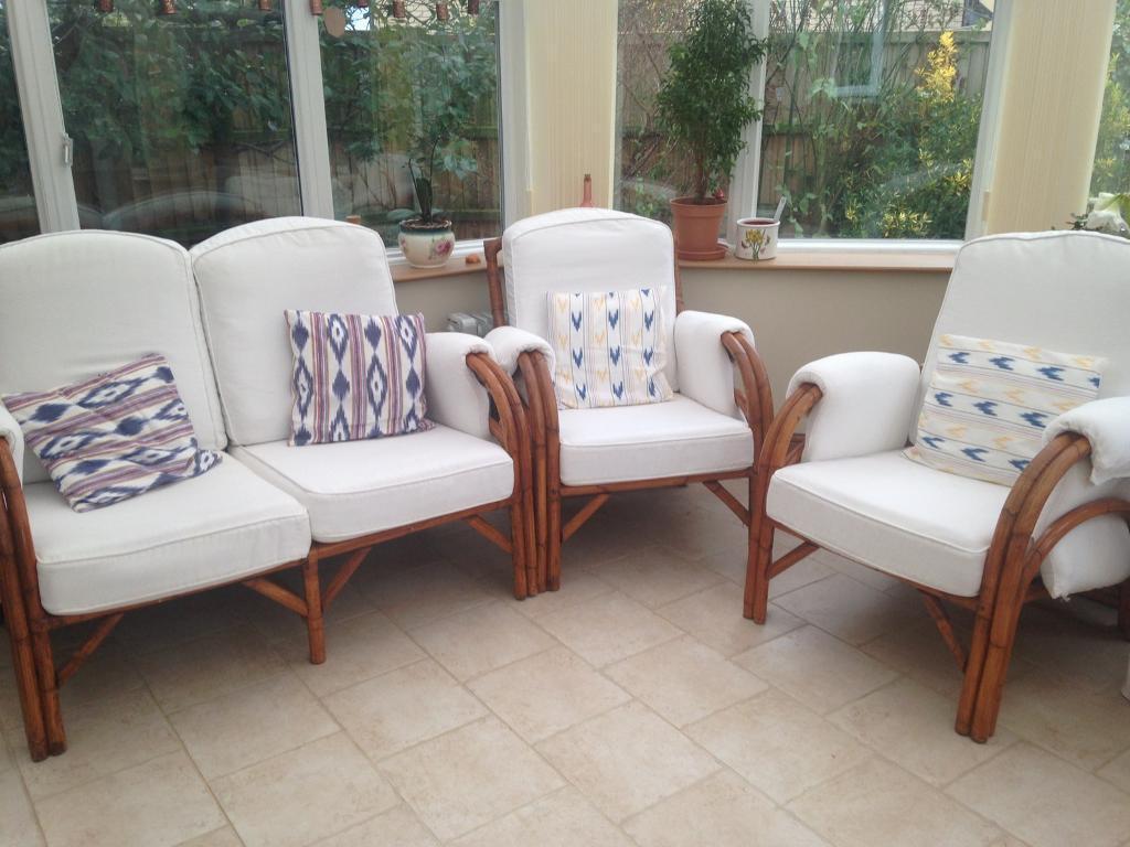 3 piece cane conservatory suite