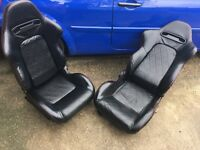 Black Leather Car Bucket Seats