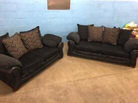 Black fabric 3 and2 sofa/couch/suite CAN DELIVER