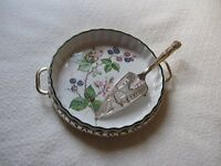 FLAN DISH OVAN-TO TABLE WITH SILVER PLATED HOLDER AND SERVER . H.SAMUEL (reduced price)