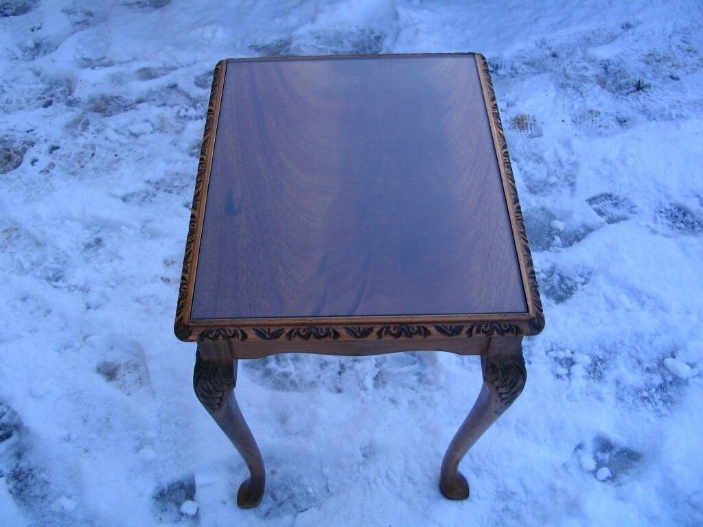 Vintage little burr walnut coffee table with glass top. Excellent quality.