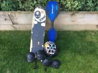 Skateboard, helmet knee/elbow pads (kids) and ripstik.