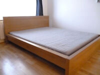 IKEA MALM oak veneer double bed with mattress, can deliver