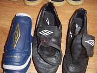 Football boots and pads