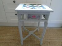 Occasional table in shabby chic style with Indian and Japanese tiles