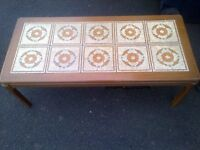 SOLID WOOD TEAK TILED COFFEE TABLE FROM NATHANS late 70s early 80s