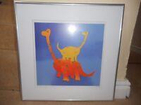 Framed dinosaur picture 50cm x 50cm