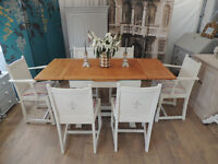 Stunning shabby chic oak extending dining table and six chairs