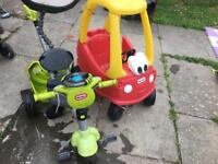 Little tikes cozy coupe and 4 in 1 trike