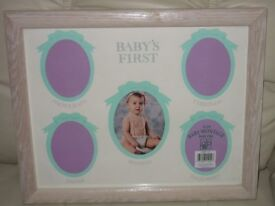 "LARGE PHOTO FRAME/MONTAGE for BABY'S 1ST YEAR PHOTOS, 11"" X 14"" LIGHT WOOD,GLASS FRONTED, DECORATIVE"