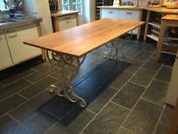 Beautiful Original French Oak and Wrought Iron table