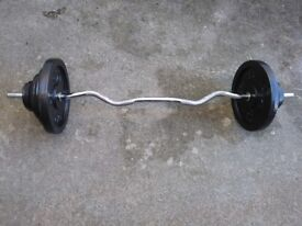 EZ Curl bar with 47.5kg of metal weights