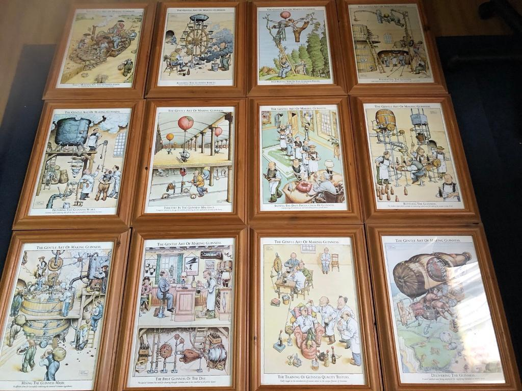 Set of 12 framed Guinness pictures