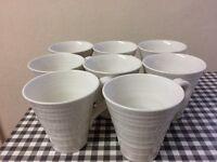 8 white Sophie Conran Portmeirion mugs