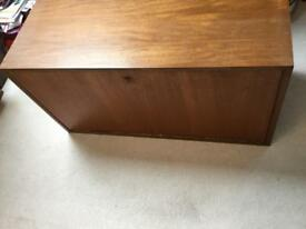 Cadovious Royal System Unit With Plain Teak Drop Front