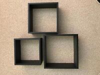 Set of 3 Black Cube Shelves