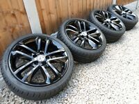 "17"" VAUXHALL ALLOY WHEELS NEW TYRES *REFURBED* GLOSS BLACK 5x110 corsa astra van"