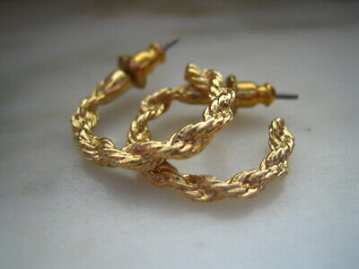 GOLD TONE TWISTED ROPE SMALL HOOP PIERCED EARRINGS Gold Tone Twisted Earrings